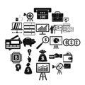 Stockbroker icons set, simple style Royalty Free Stock Photo