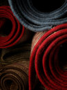 Stocked rolled carpets Stock Image