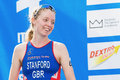 Stockholm aug happy non stanford at the third place or br bronce in womens itu world triathlon series event in Stock Images