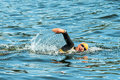 Stockholm aug lisa norden warming up in the cold water be before race womans itu world triathlon series event Stock Photography