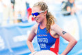 Stockholm aug non stanford gbr the bronze medalist afte after finish line in womens itu world triathlon series event in Stock Photos