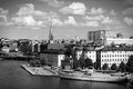Stockholm black white sweden view of famous gamla stan the old town riddarholmen island restaurant and hotel ship Royalty Free Stock Images