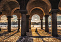 Stockholm city hall columns and shadows Royalty Free Stock Photo