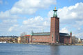 Stockholm city hall view from water sweden Stock Photography