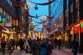 Stockholm dec drottninggatan during christmas and rushhour decorations along december in sweden Stock Photos