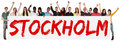 Stockholm group of young multi ethnic people holding banner Royalty Free Stock Photo