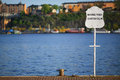 Stockholm harbor sign Royalty Free Stock Photo
