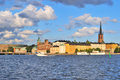 Stockholm island riddarholmen at sunset sweden in the sunny evening Royalty Free Stock Images