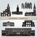 Stockholm landmarks and monuments isolated on blue background in editable vector file Stock Photography