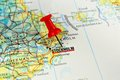 Stockholm map with pin close up of on a red Stock Image