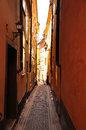 Stockholm old towm alley sweden gamlastan town colourful narrow Royalty Free Stock Images