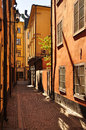 Stockholm old towm alley sweden gamlastan town colourful narrow Royalty Free Stock Photos