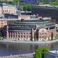Stockholm parliament sweden aerial view of riksdag building at helgeandsholmen island square composition Royalty Free Stock Image