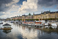 Stockholm river scene sweden at the norrstrom Royalty Free Stock Photo