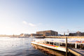 Stockholm Sightseeing Boat with Stockholm Royal Palace. Royalty Free Stock Photo
