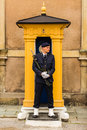STOCKHOLM, SWEDEN -CIRCA 2016 - A guard stands stationary at his post at the Royal Palace which is in the old town