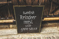 STOCKHOLM, SWEDEN - CIRCA 2016 - a typical Swedish lunch menu sign outside of a restaurant in the old town of Stockholm, Sweden.