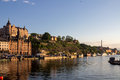 Stockholm sweden the historical buildings of downtown at the shore of ridarfjarden Stock Photos