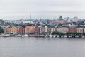 Stockholm sweden the historical buildings of downtown at the shore of ridarfjarden Royalty Free Stock Photography