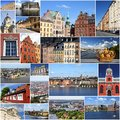 Stockholm sweden photo collage from collage includes major landmarks like gamla stan old town riddarholmen island kungsholmen Stock Image