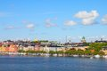 Stockholm sweden skyline of kungsholmen island seen from sodermalm island across riddarfjarden channel Stock Photography