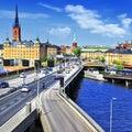 Stockholm sweeden beautiful view with bridge Stock Photo