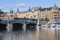 Stockholm tram on bridge Royalty Free Stock Image