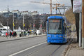 Stockholm tram street scene from with a environment friendly way of travel Stock Photo