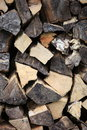 Stockpile of chopped wood showing the cut cross sections the logs stored for winter heating Stock Photos