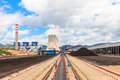 Stockpile of coal in and power plant Stock Photos