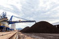 Stockpile of coal in and power plant Stock Image