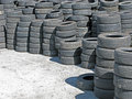 Stockpile of used tires a ready to be resold Royalty Free Stock Photo