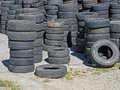 Stockpile of used tires a ready to be resold Stock Image