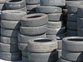Stockpile of used tires a ready to be resold Royalty Free Stock Photography