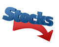 Stocks prices down d word and red arrow going suggesing lowering of and shares isolated on white Royalty Free Stock Image
