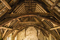 Stokesay Castle Roof Timbers, Shropshire, England. Royalty Free Stock Photo