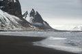 Stokksnes Peninsula landscape, Vestrahorn mountains and black sand ocean coast line, Iceland Royalty Free Stock Photo