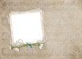 Stokrotki i perełkowy bukiet na staromodnej zdjęcie ramie z muzykalnym tłem Zdjęcie Stock