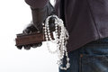 Stolen jewelery pieces a closeup of a thief with of Royalty Free Stock Photography