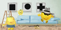 Stolen pictures happy smileys family ornate their room with art Royalty Free Stock Images