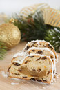 Stollen for Christmas, festive decorations Royalty Free Stock Photo