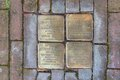 Stolpersteinen at the jewish house in the back street in hattem netherlands Stock Photos