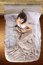 Stomach cramps young adolescent female having abdominal in the morning Stock Photo