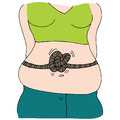 Stomach tied in knots an image of a woman with Stock Photos