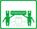 Stomatology clinic background with dentist and tooth Stock Image