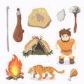Stone Age icons Primitive man. Cavemen. Neanderthals. Homo sapiens.