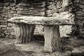 Stone altar ancient in sephia tone Royalty Free Stock Images