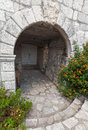 Stone arch entrance to ancient house in perast town montenegro Royalty Free Stock Images