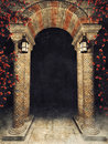 Stone arch with roses and lamps