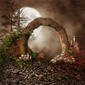 Stone arch with skulls Royalty Free Stock Photos